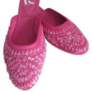 Shoes - Nwt Pink Satin And Suede With Beads And Sequins 8
